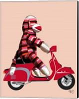 Sock Monkey on Red Moped Fine Art Print