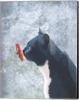 Black Cat Sniffing Flower Fine Art Print