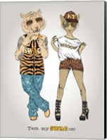 Tiger And Leopard In Swag Style Fine Art Print