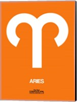 Aries Zodiac Sign White on Orange Fine Art Print