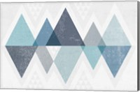 Mod Triangles II Blue Fine Art Print