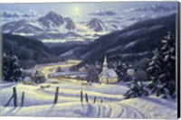 Mountain Village In Winter Fine Art Print