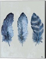 Indigo Blue Feathers I Fine Art Print