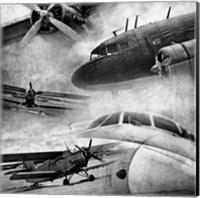 Vintage Plane Montage BW Fine Art Print