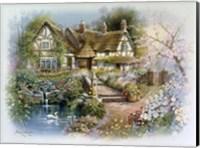 Cottage Scene With Swan Fine Art Print