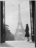 Woman Looking Toward Eiffel Tower Fine Art Print