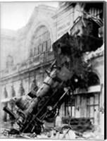 Train wreck at Montparnasse, Paris, 1895 Fine Art Print