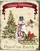 Happy Holidays - Snowman Fine Art Print