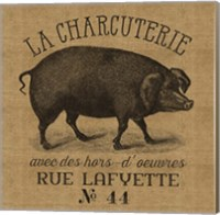 French Pig Burlap Fine Art Print