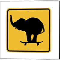 Elephant On Skateboard Crossing Sign Fine Art Print