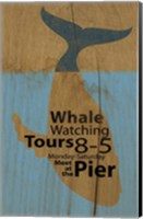 Whale Sign On Wood 2 Fine Art Print