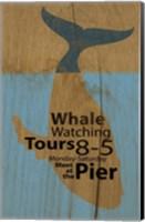 Whale Sign On Wood 2 Fine Art Print