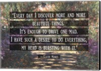 Monet Quote Garden at Giverny Fine Art Print