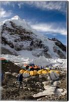 Tents Scattered along Khumbu Glacier,  Mt Everest, Nepal Fine Art Print