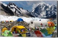 Tents of Mountaineers Scattered along Khumbu Glacier, Base Camp, Mt Everest Fine Art Print