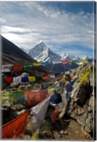 Prayer flags, Everest Base Camp Trail, peak of Ama Dablam, Nepal Fine Art Print