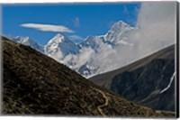 The Everest Base Camp Trail snakes along the Khumbu Valley, Nepal Fine Art Print