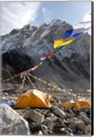 Tents of mountaineers along Khumbu Glacier, Mt Everest, Nepal Fine Art Print