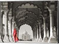 Woman in traditional Sari walking towards Taj Mahal (BW) Fine Art Print