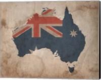 Map with Flag Overlay Australia Fine Art Print