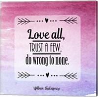 Love All, Trust a Few Magenta Ombre Fine Art Print