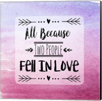 Two People Fell in Love Magenta Ombre Fine Art Print