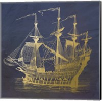 Gold Ship Fine Art Print