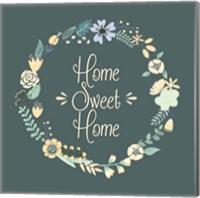 Home Sweet Home Floral Teal Fine Art Print