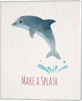 Make a Splash Dolphin White Fine Art Print