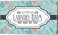 Laundry Room Sign Green Pattern Fine Art Print
