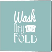 Wash Dry And Fold Blue Background Fine Art Print