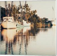 Sepia Shrimp Boats Fine Art Print