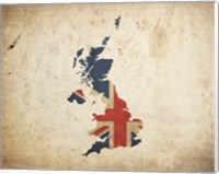 Map with Flag Overlay United Kingdom Fine Art Print