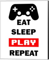 Eat Sleep Game Repeat  - White and Red Fine Art Print