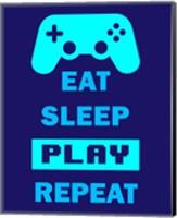 Eat Sleep Game Repeat  - Blue Fine Art Print