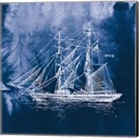 Sailing Ships IV Indigo Fine Art Print