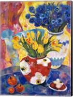 Redvase Of Yellow Tulips Fine Art Print