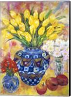 Yellow Tulips In A Blue & Gold Pot Fine Art Print