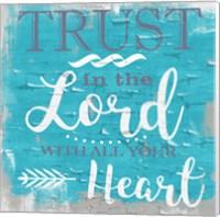 Trust In The Lord Rustic Aqua Fine Art Print
