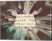 Teamwork Makes The Dream Work Stacking Hands Black and White Fine Art Print