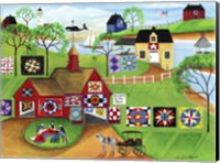 By The Sea Red Barn Quilt Makers Fine Art Print