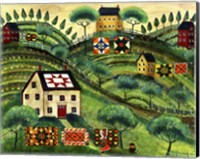 Mama's Country Quilt Houses On Harvest Hills Fine Art Print