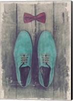Vintage Fashion Bow Tie and Shoes - Blue Fine Art Print
