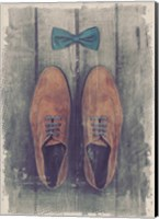 Vintage Fashion Bow Tie and Shoes - Brown Fine Art Print