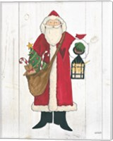 Vintage St Nick I no Words on White Wood Fine Art Print