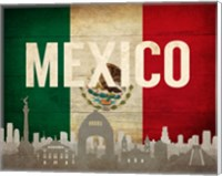 Mexico City, Mexico - Flags and Skyline Fine Art Print