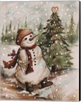 Country Snowman I Fine Art Print