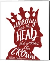 Uneasy Lies The Head Shakespeare - King Red on White Fine Art Print