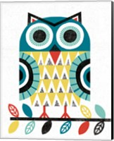 Folk Lodge Owl V2 Teal Fine Art Print