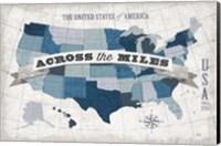 USA Modern Vintage Blue Grey with Words Fine Art Print
